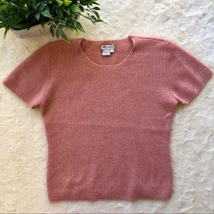 Worth salmon pink cashmere short sleeve sweater